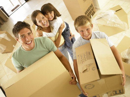 Family with moving home